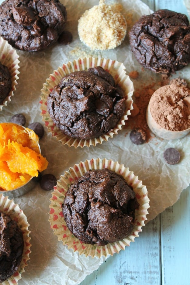 "Paleo Chocolate Butternut Muffins. ""These sinfully rich and decadent Paleo Chocolate Butternut Muffins are a real treat! With a tender crumb, and brimming with nourishing ingredients, this is one muffin you'll be happy to whip up and serve your loved ones."" So says Tessa and I believe her!"