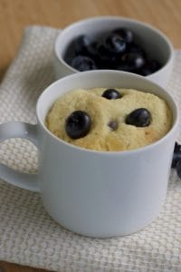 "Gluten-Free Blueberry Mug Muffin (Keto). Suzanne of Keto Karma says: ""I love a good mug muffin! Sometimes it's nice to have a simple and quick recipe that doesn't involve large amounts of specialty flours or dirty dishes! Enjoy this muffin warm and topped with butter, all in under 10 minutes!"" One of 20 gluten-free muffin recipes for March Muffin Madness."