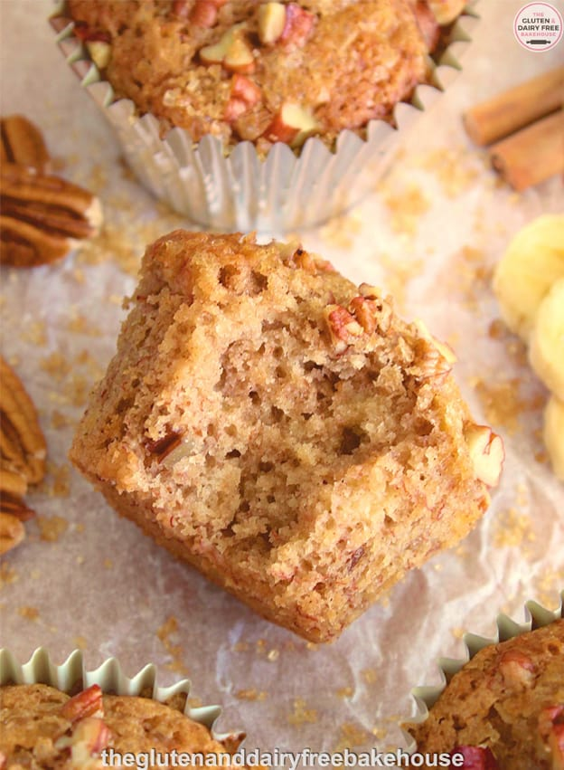 "Gluten-Free Maple Pecan Banana Muffins. ""Most people enjoy a good old-fashioned banana muffin. They make a tasty breakfast alternative or mid-morning or afternoon snack. However, by adding maple syrup and toasted pecans, you can take the humble banana muffin and turn it into a new taste sensation!"" One of 20 gf muffin recipes on gfe for March Muffin Madness."
