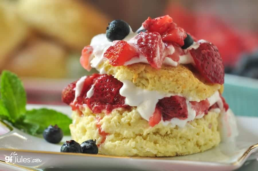 Gluten-Free Red White and Blue Strawberry Shortcake. One of 25 gluten-free strawberry shortcake recipes on gfe. [featured on GlutenFreeEasily.com]