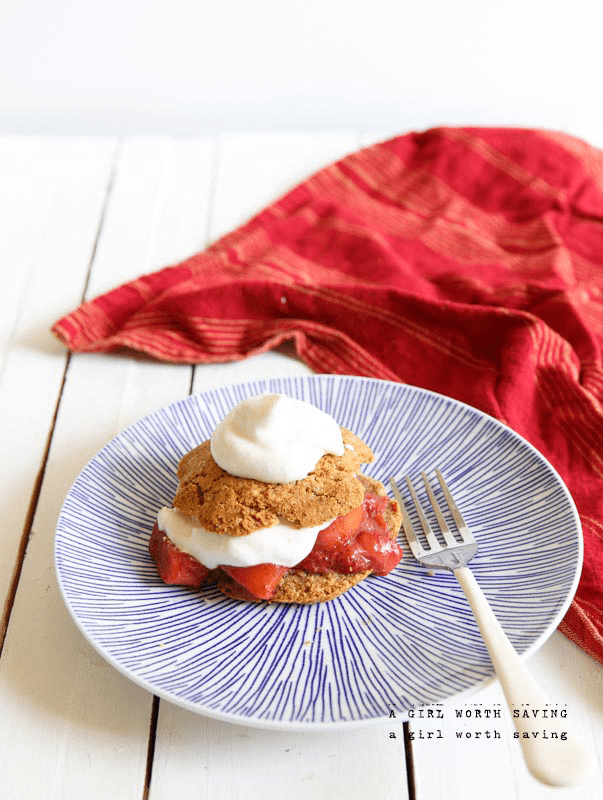 Gluten-Free Strawberry Rhubarb Shortcake. One of 25 gluten-free strawberry shortcake recipes on gfe. [featured on GlutenFreeEasily.com]