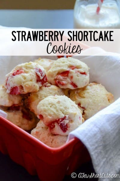Gluten-Free Strawberry Shortcake Cookies. One of 25 gluten-free strawberry shortcake recipes on gfe. [featured on GlutenFreeEasily.com]