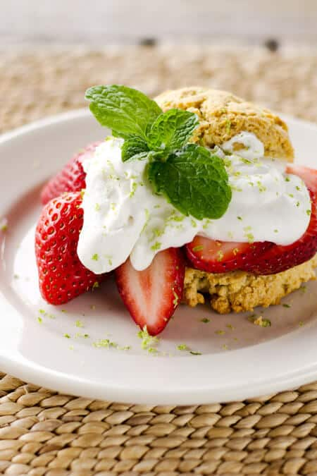 Paleo Strawberry Shortcake with Lime Coconut Cream. One of 25 gluten-free strawberry shortcake recipes on gfe. [featured on GlutenFreeEasily.com]