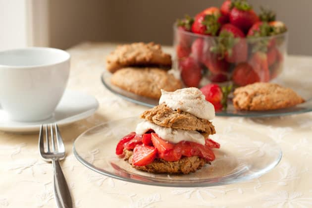 Gluten-Free Strawberry Cinnamon Shortcake Sandwiches. One of 25 gluten-free strawberry shortcake recipes on gfe. [featured on GlutenFreeEasily.com]