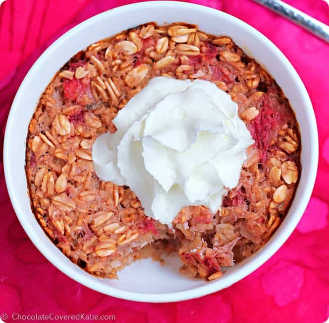 Strawberry Shortcake Baked Oatmeal. One of 25 gluten-free strawberry shortcake recipes on gfe. [featured on GlutenFreeEasily.com]