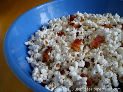 Gluten-Free Bacon Popcorn. One of 50 gluten-free bacon recipes featured on gfe. [from GlutenFreeEasily.com]