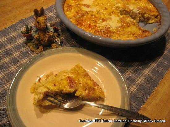 Gluten-Free Crustless Quiche Lorraine. One of 50 gluten-free bacon recipes featured on gfe. [from GlutenFreeEasily.com]