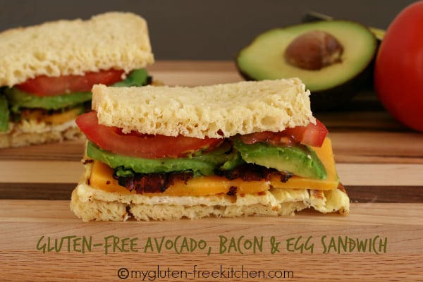 Gluten-Free Avocado Bacon and Egg Sandwich with Hass Avocados. One of 50 gluten-free bacon recipes featured on gfe. [GlutenFreeEasily.com]