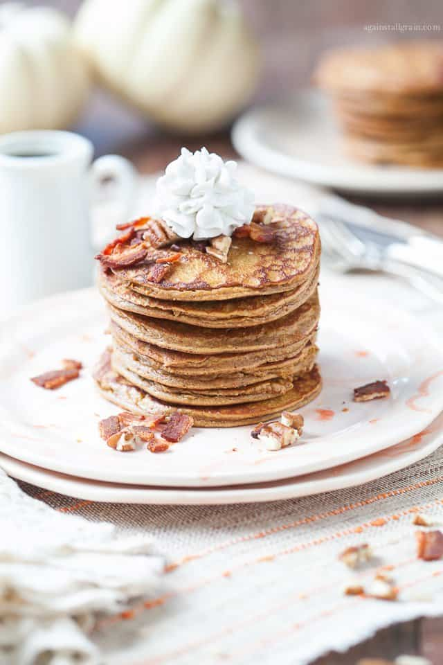 Paleo Pumpkin Pancakes with Bacon and Pecans. One of 50 gluten-free bacon recipes featured on gfe. [from GlutenFreeEasily.com]