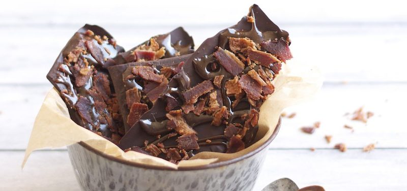 Salted Caramel Bacon Bark. One of 50 gluten-free bacon recipes featured on gfe. [from GlutenFreeEasily.com]