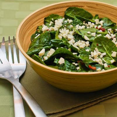 Spinach Salad with Bacon and Feta. One of 50 gluten-free bacon recipes featured on gfe. [from GlutenFreeEasily.com]