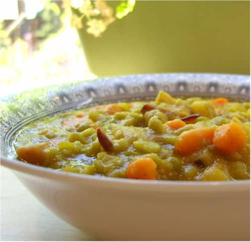 Split Pea Soup with Bacon. One of 50 gluten-free bacon recipes featured on gfe. [from GlutenFreeEasily.com]