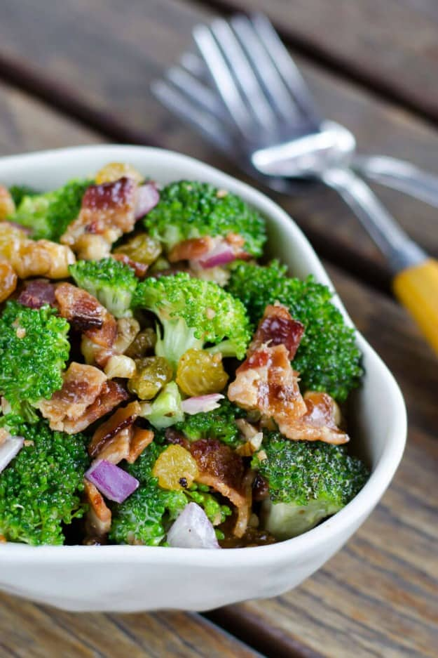 Broccoli Salad with Bacon. One of 50 gluten-free bacon recipes featured on gfe. [GlutenFreeEasilycom]