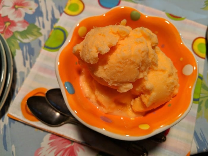 This Super Easy Homemade Orange Sherbet is made from just three ingredients and ALWAYS makes the party. [from GlutenFreeEasily.com]