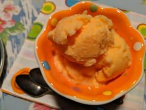 Three-Ingredient Super Easy Homemade Orange Sherbet That Makes the Party. Orange soda, sweetened condensed milk (dairy-free, if you like), and crushed pineapple are ingredients in this vibrant and delicious orange sherbet. [from GlutenFreeEasily.com]