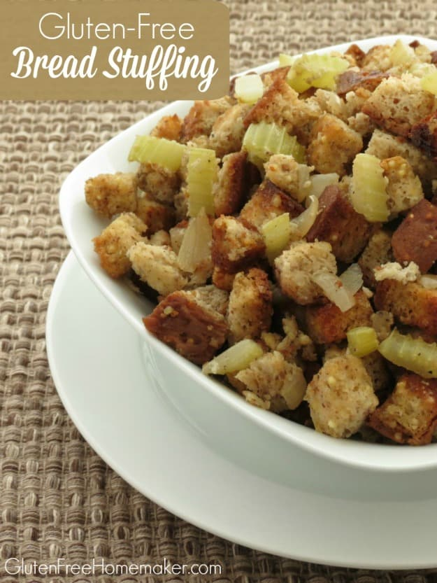 Gluten-Free Bread Stuffing. One of 35 holiday-worthy gluten-free stuffing recipes featured on gfe. [from GlutenFreeEasily.com]
