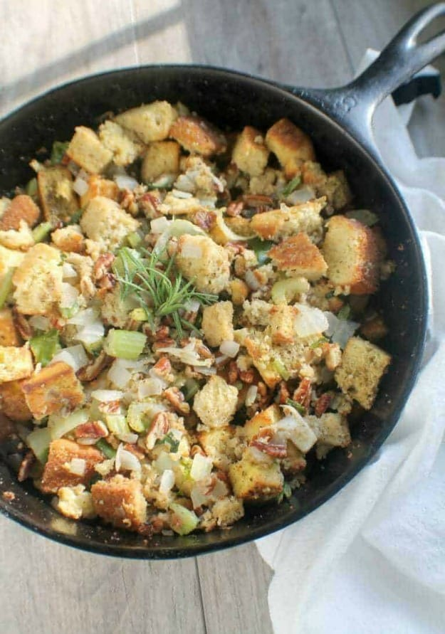 Gluten-Free Keto Cornbread Stuffing. One of 35 holiday-worthy gluten-free stuffing recipes featured on gfe. [from GlutenFreeEasily.com]