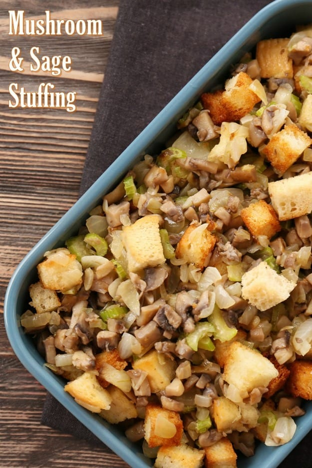 Gluten-Free Mushroom Sage Stuffing. One of 35 holiday-worthy gluten-free stuffing recipes featured on gfe. [from GlutenFreeEasily.com]