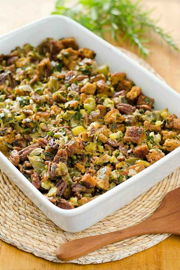 Gluten-Free Paleo Cornbread Stuffing. One of 35 holiday-worthy, gluten-free stuffing recipes featured on gfe. [from GlutenFreeEasily.com]