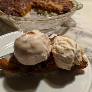 Gluten-Free Sweet Potato Pecan Pie Slice with two scoops of caramel ice crea. Oh my, what a trifecta of flavors! [from GlutenFreeEasily.com]