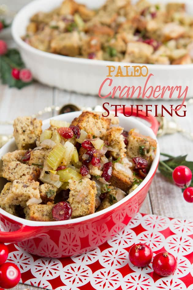Paleo Cranberry Flax Stuffing. One of 35 holiday-worthy gluten-free stuffing recipes featured on gfe. [from GlutenFreeEasily.com]