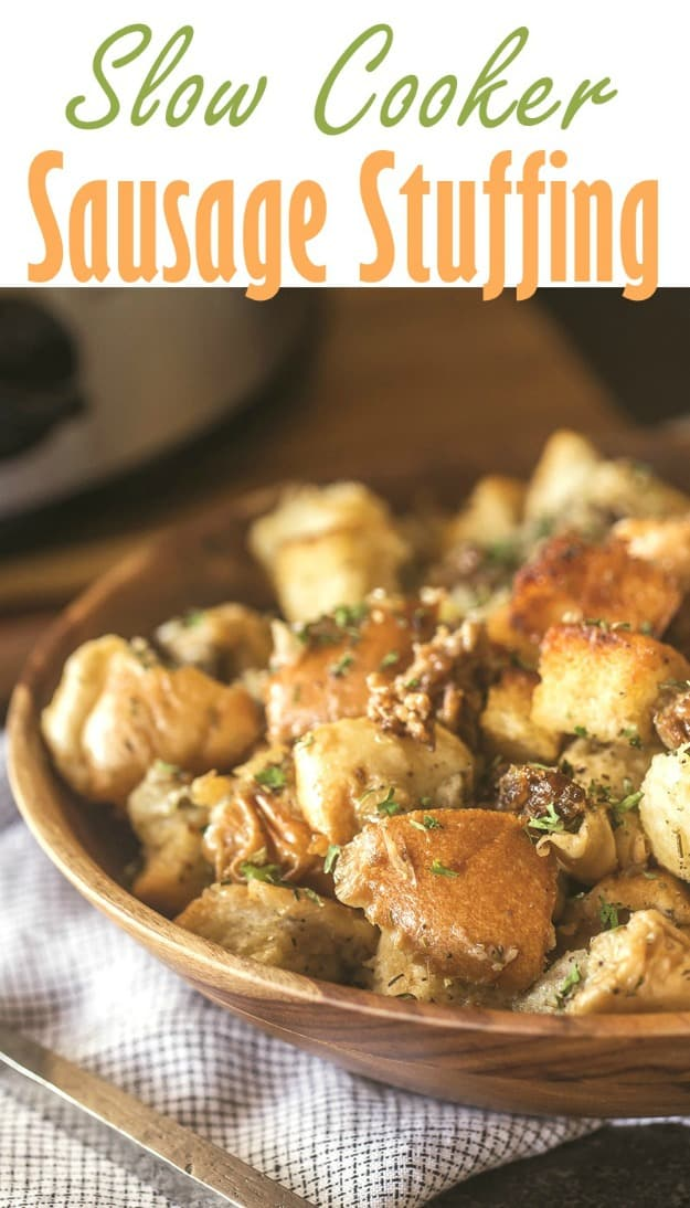 Slow Cooker Sausage Stuffing. One of 35 holiday-worthy, gluten-free stuffing recipes featured on gfe. [from GlutenFreeEasily.com]