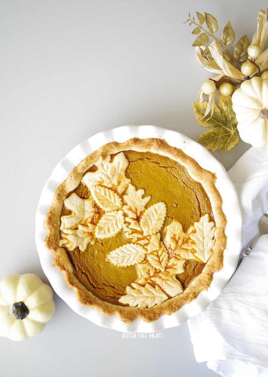 Gluten-Free Pumpkin Pie from Gluten-Free Palate. With Pastry Leaves.