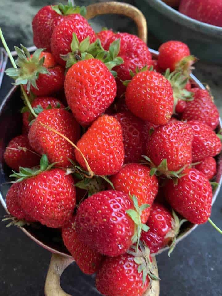 Glorious fresh strawberries ready for eating or using in Strawberry Shortcake.