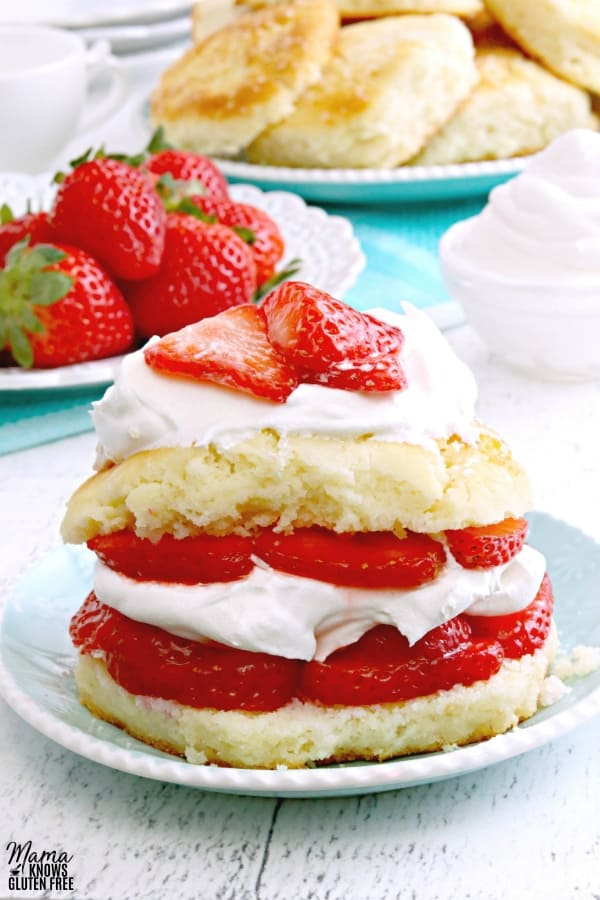 Gluten-Free Strawberry Shortcake made with buttermilk biscuits from Mama Knows Gluten Free.