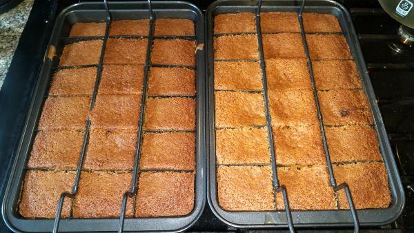 Gluten-Free Pumpkin Apple Cider Cake baked in special brownie pans.