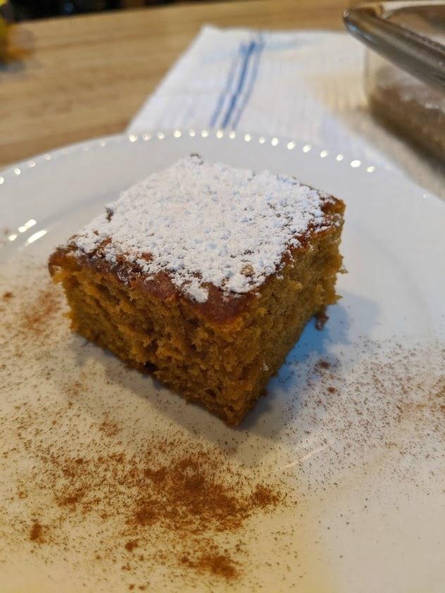 Gluten-Free Pumpkin Cider Cake Slice Closeup Gluten Free Easily gfe Photo