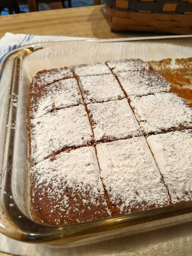Gluten-Free Pumpkin Cider Cake Dusted and Cut