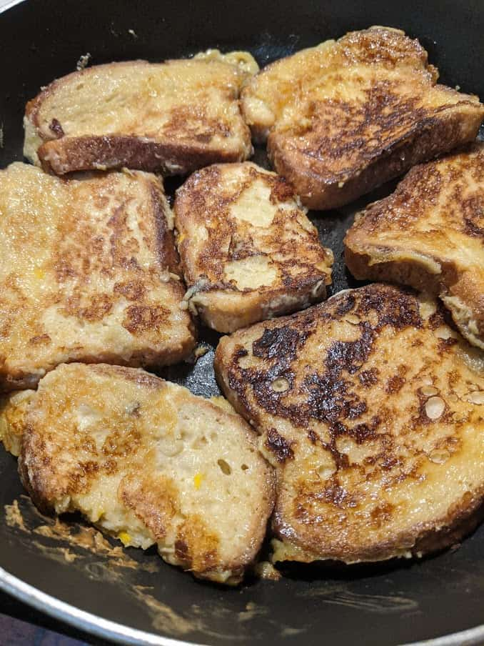 Gluten-Free Honey French Toast Frying in Skillet.