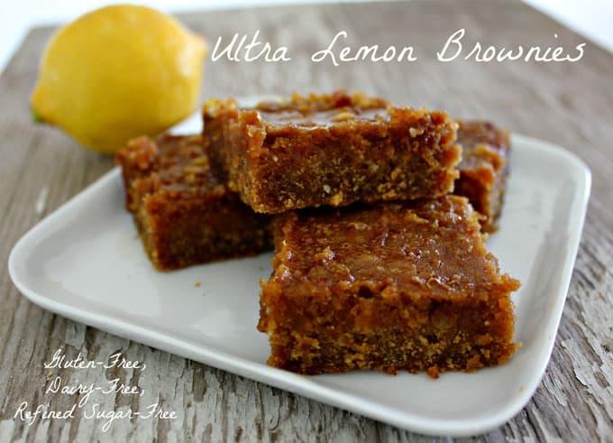 Ultra Lemon Brownies. Gluten-free goodness for the lemon lover! From In Johnna's Kitchen.