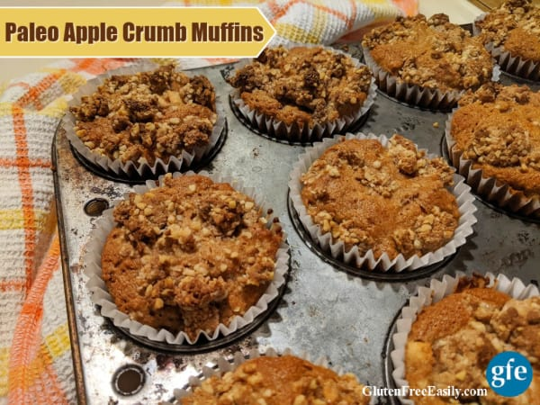 Gluten-free and paleo Apple Crumb Muffins in old Ecco muffin tin cooling on plaid cotton dish towel.