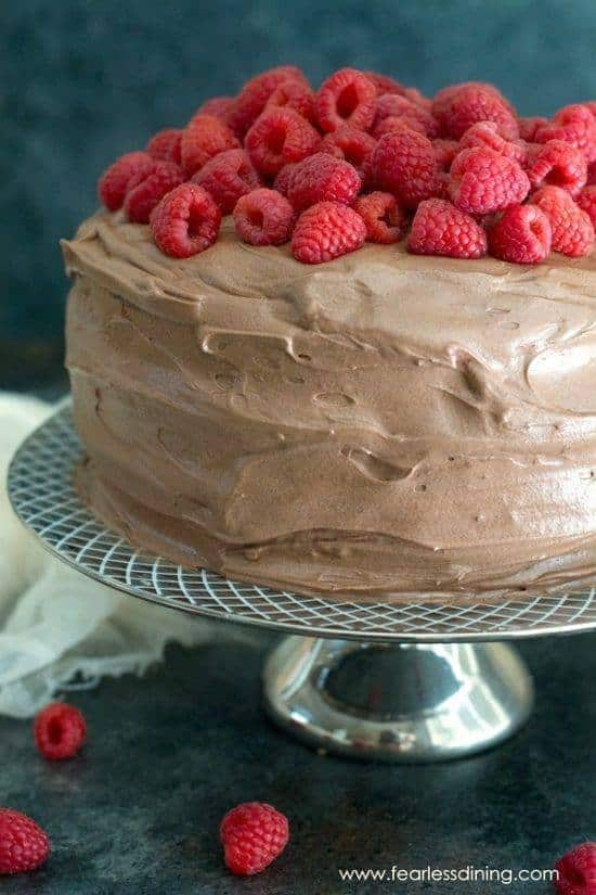 Scrumptious Gluten-Free Raspberry Cake. With chocolate frosting, raspberry filling, and fresh raspberries on top.