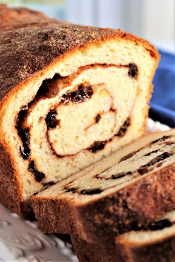 Gluten-Free Cinnamon Raisin Swirl Bread with end pieces sliced.